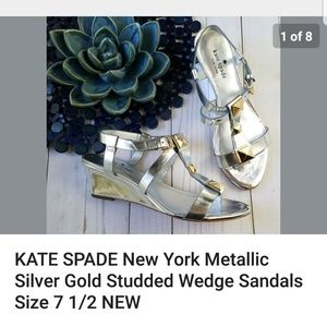 Kate Spade New York Silver Metallic Studded Wedge